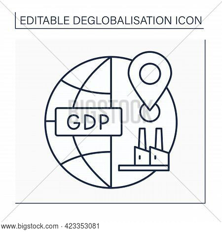 Domestic Production Line Icon. Gross Domestic Product. Gpd. Goods And Services Made In Country. Degl