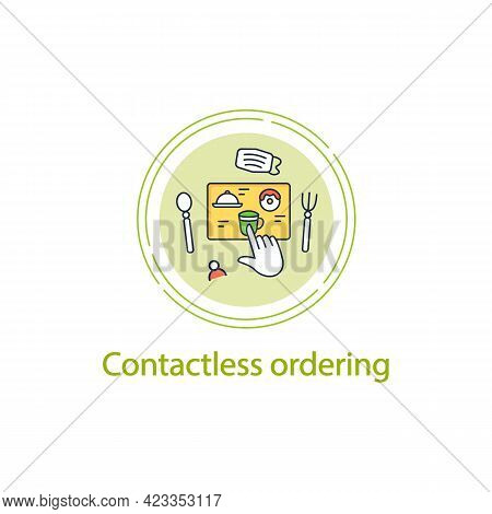Contactless Ordering Concept Line Icon.ordering Food At Distance. Online Order. Regulation Through C