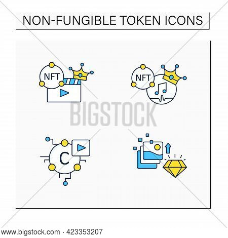 Nft Color Icons Set.non Fungible Tokens Music, Video Clips, Cryptomedia, Digital Art.unique Digital