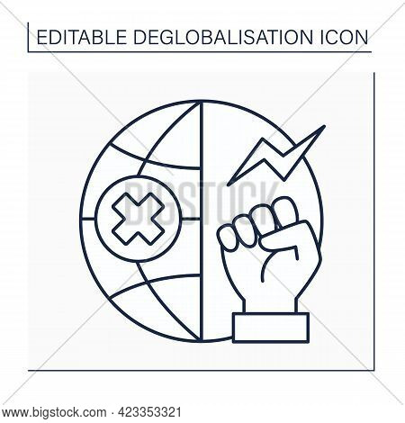 Anti Globalism Line Icon. Rejects Current Global Economic And Trade System. Fight For Equal Rights I