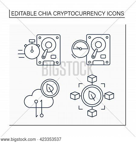 Chia Cryptocurrency Line Icons Set. Faster Or Slower Plotting, Chia Network Traffic, Blockchain Size