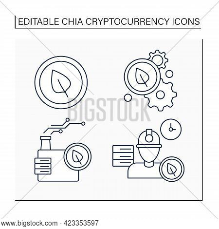 Chia Cryptocurrency Line Icons Set. Chia Coin Processing, Storage Industry, Space Proof. Digital Mon