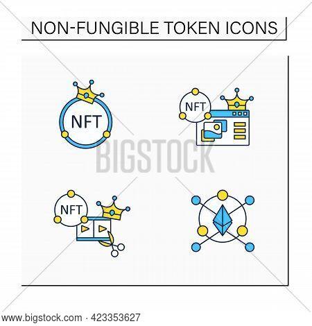 Nft Color Icons Set. Ethereum Blockchain. Video Clips. Non Fungible Tokens Supermarket.unique Digita