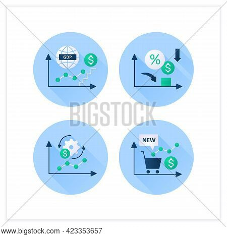 Economic Recovery Flat Icons Set. New Stock Markets, Economy Adaptation, Low Interest Rates, Gdp Gro