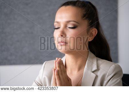 Pondering Thinking Contemplative Woman. Religious Female Prayer