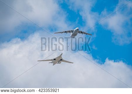 Moscow, Russia - May, 05, 2021: The Group Of Supersonic Strategic Bomber Of Long-range Aviation Tu-1