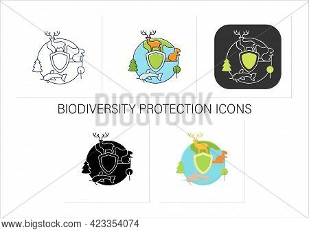 Biodiversity Protection Icons Set.limiting Deforestation.reduce Air Pollution.saving Flora And Fauna