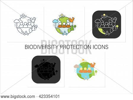 Humans And Ecosystem Icons Set.people Impact Ecosystem.protection Flora, Fauna.saving Animals, Plant