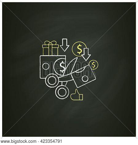 Less Spending Chalk Icon. Reasonable Money Use. Mindful Spending.scissors Cut Money.universal Basic