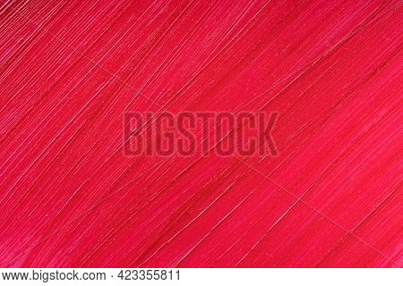 Red Lipstick Smear Smudge Sample Texture Background. Beauty Product Lop Gloss Closeup. Makeup Creamy