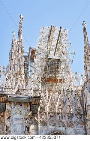 View From The Bottom Of Duomo Cathedral Building During Reconstruction Process With Multiple Metal S