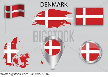 Flat Button With Denmark Flag Pin. Pin Point Icon. Vector Illustration. Stock Image.