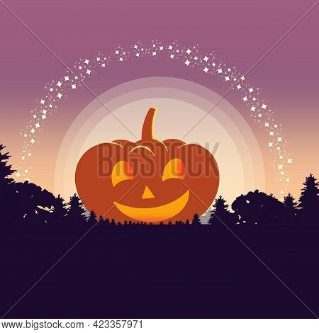 Orange Smiling Pumpkin On The Field In The Forest And Moonlight With Stars Flat Illustration