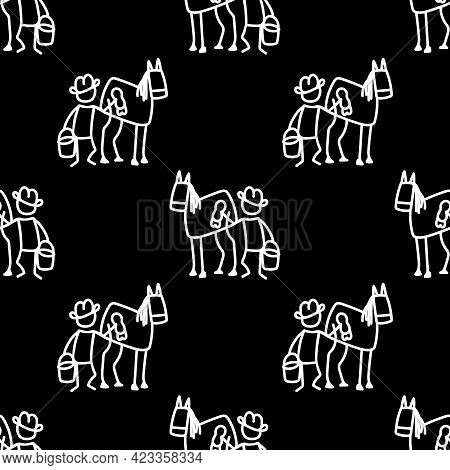 Black And White Drawn Stick Figure Of Cowboy In Horse Stable Western Clip Art. Wild Masculine Stalli