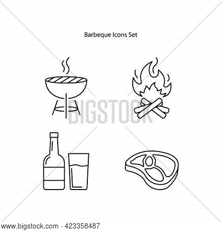 Barbeque Icons Set Isolated On White Background. Barbeque Icon Thin Line Outline Linear Barbeque Sym