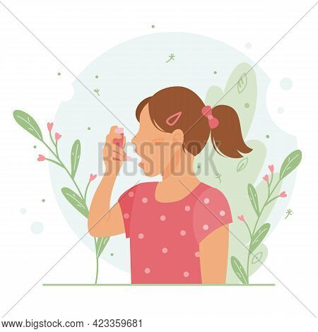 Little Girl Uses An Asthma Inhaler Against An Allergic Attack. World Asthma Day. Child Allergy, Asth