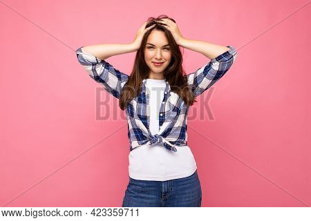 Photo Shot Of Cute Nice Charming Gorgeous Attractive Pretty Youngster Happy Woman Wearing Stylish Cl