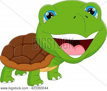Cartoon Cute Green Turtle Smiling On White Background