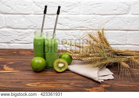 Raw Green Smoothie Drink. Morning Breakfast For Vegan. Refreshing Summer Green Smoothie Or Milkshake