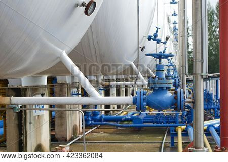 Valves At Gas Plant, Pressure Safety Valve Selective Focus