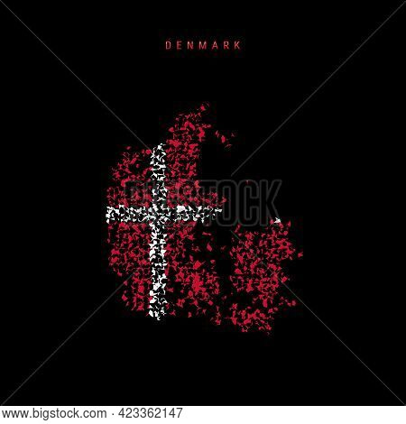 Denmark Flag Map, Chaotic Particles Pattern In The Colors Of The Danish Flag. Vector Illustration Is