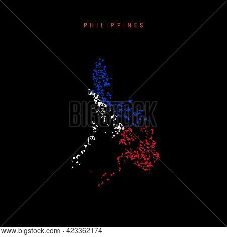 Philippines Flag Map, Chaotic Particles Pattern In The Colors Of The Philippine Flag. Vector Illustr