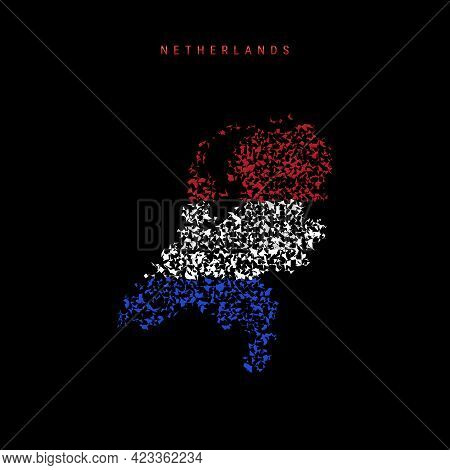 Netherlands, Holland Flag Map, Chaotic Particles Pattern In The Colors Of The Dutch, Netherlandish F