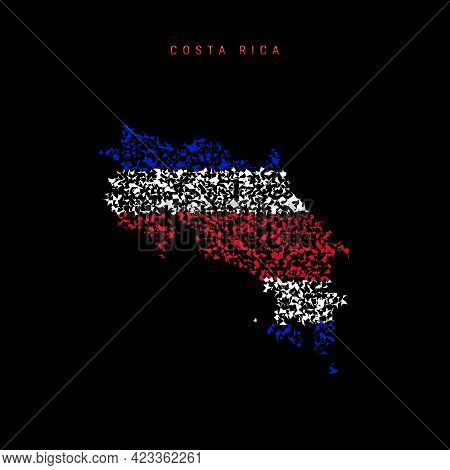 Costa Rica Flag Map, Chaotic Particles Pattern In The Colors Of The Costa Rican Flag. Vector Illustr