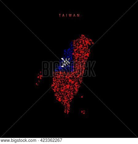 Taiwan Flag Map, Chaotic Particles Pattern In The Colors Of The Taiwanese Flag. Vector Illustration