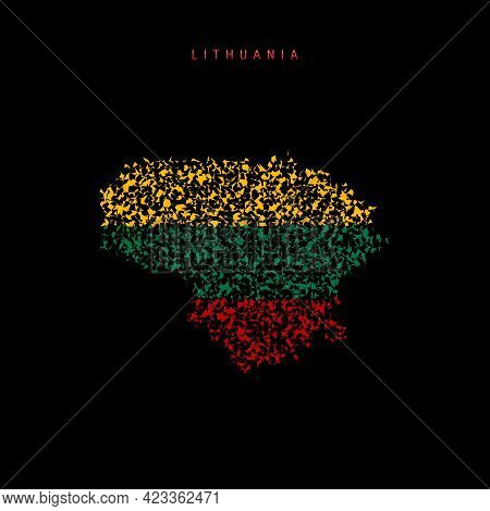 Lithuania Flag Map, Chaotic Particles Pattern In The Colors Of The Lithuanian Flag. Vector Illustrat