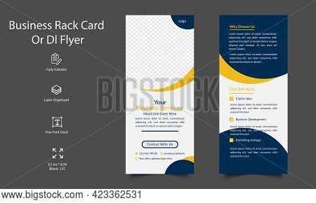 Corporate Business Dl Flyer And Rack Card Template Design. Editable Business Rack Card Template. Pri