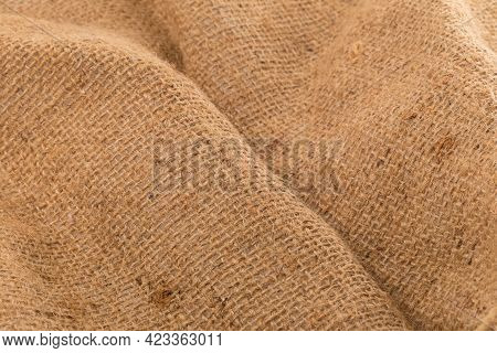 Close Up Sack Cloth Tag Isolated On A White Background.