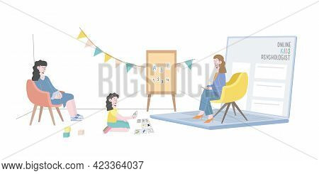 Online Psychological Counseling With Children Concept. Psychologist And Her Small Patient Are Having