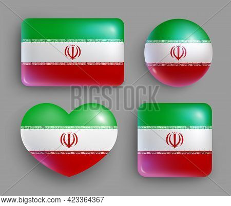Set Of Glossy Buttons With Iran Country Flag. Western Asia Country National Flag, Shiny Geometric Sh