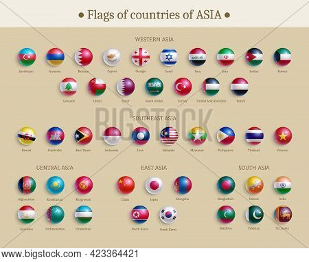 Flags Of Countries Of Asia Glossy Buttons Set. Banner With Asian Countries Flags, Round Shape Icons