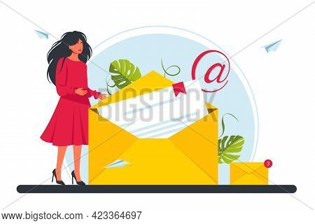 Concept Sending And Receiving Mail Messages, Social Network, Chat, E-mail. Tiny Business Woman Holdi