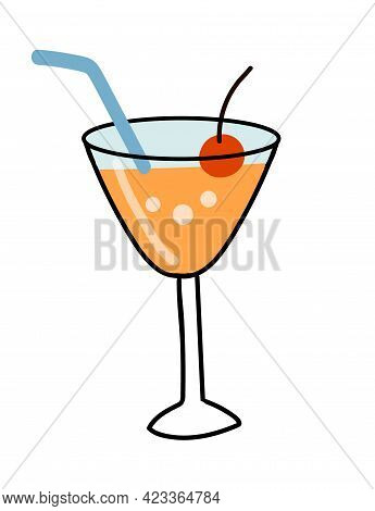 Cocktail Drink With Orange, Decorated With Cherry