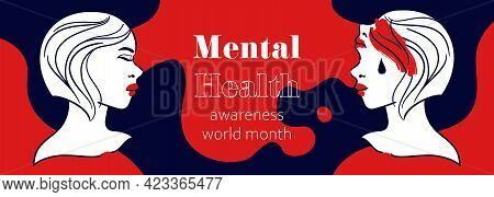 Wide Vector Banner Layout For Publish About Mental Health. Double Face Woman Portraits