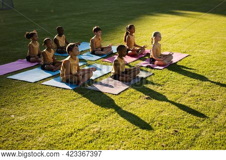 Group of diverse students practicing yoga and meditating sitting on yoga mats in garden at school. school and education concept