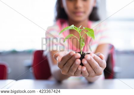 Mid section of girl holding a plant seedling while sitting on her desk in class at school. school and education concept