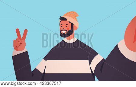 Happy Man Taking Selfie On Smartphone Camera In Hand Casual Guy Making Self Photo Horizontal