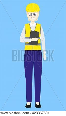 Beautiful Woman In Yellow Helmet And Vest With Tablet. Construction Worker. Engineer. Contractor. Is