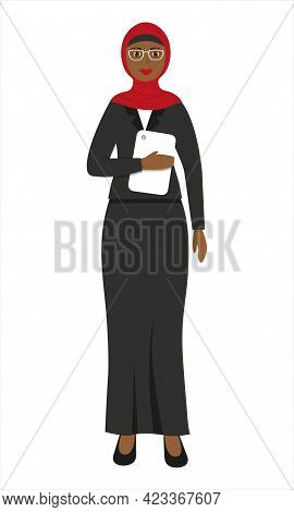 Muslim Woman Wearing Formal Suit And Glasses With Tablet In Her Hands. Teacher. Business Woman. Engi