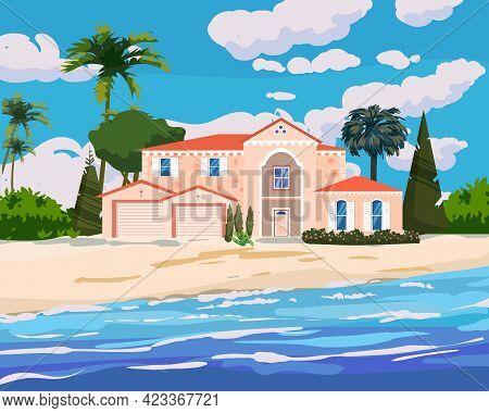 Villa On Tropical Exotic Island Coast. Modern Luxury Cottage, Ocean, Beach, Palms And Plants, Summer