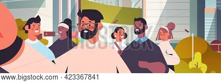 Mix Race People Taking Selfie On Smartphone Camera Happy Men Women Walking Outdoor Making Self Photo