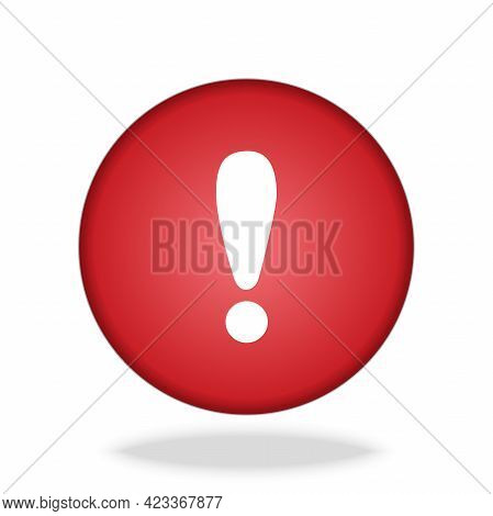 White Exclamation Mark On Red Circle Button Icon Vector