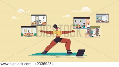 Woman Doing Stretching Exercises Mix Race People In Web Browser Windows Working Out Online Training