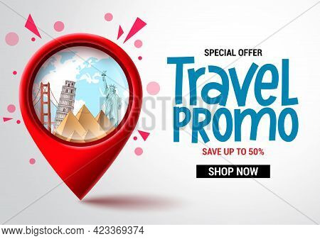 Travel Sale Vector Banner Design. Travel Promo Special Offer Text With Location Pin Elements For Adv