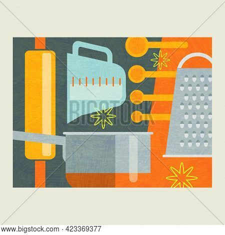 Abstract Collage Of Cooking Tools For Baking And Food Preparation. Includes Rolling Pin, Saucepan, G