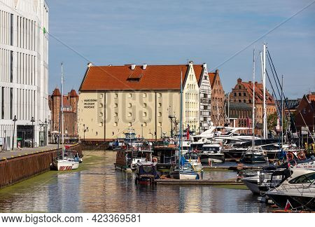 Gdansk, Poland - Sept 6, 2020: The National Maritime Museum And The Marina In Gdańsk. Poland